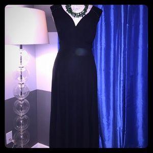 THEORY - Sexy Black V Neck Maxi Dress Size Medium